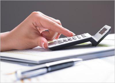 calculator on spreadsheet