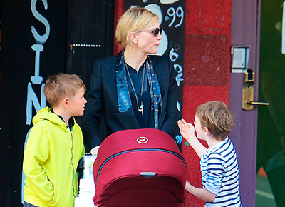 Cate Blanchett out with the kids