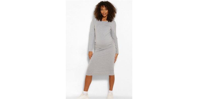 Maternity long sleeve bodycon midi dress