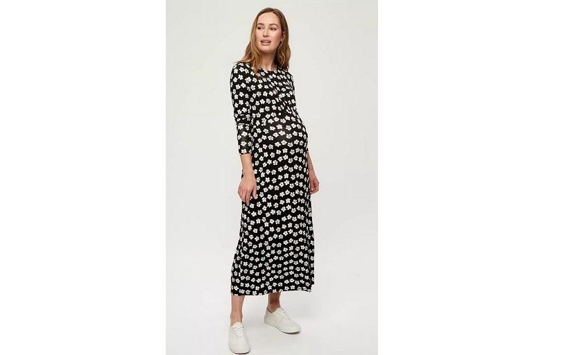 Maternity empire midi dress