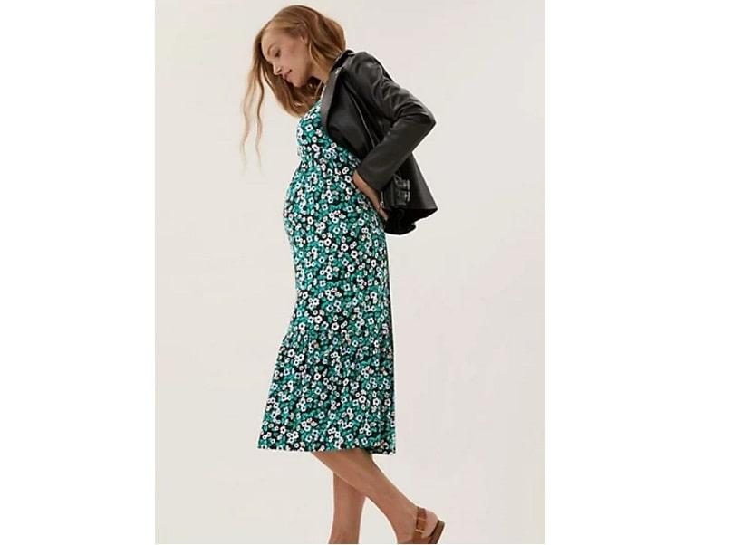 Maternity floral tiered midi dress