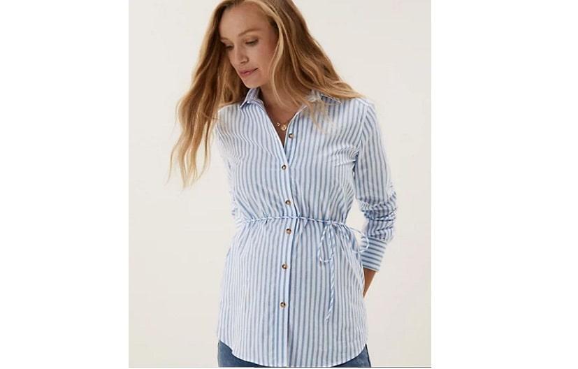 Maternity cottons striped shirt