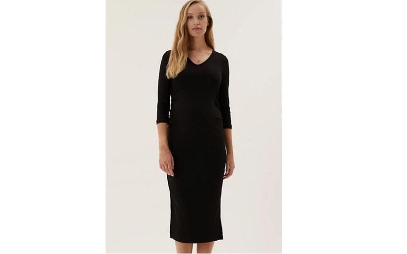 Maternity cotton v-neck midi dress