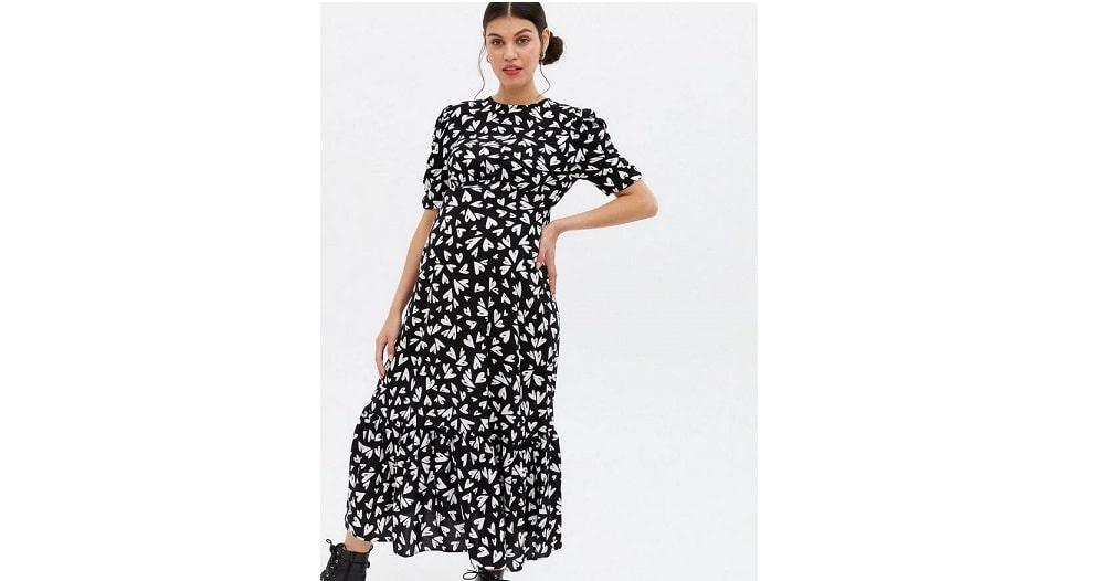 Maternity black heart tiered tie back midi dress