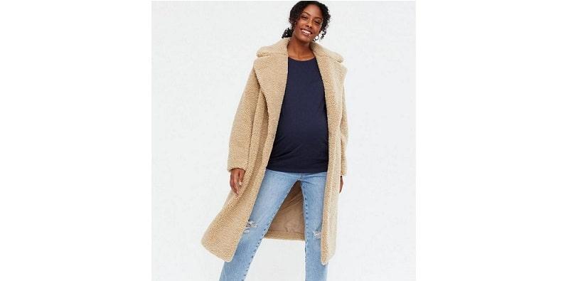 Maternity camel teddy long coat