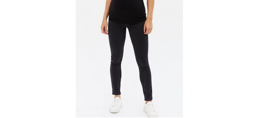 Maternity black washed over bump Jenna skinny jeans