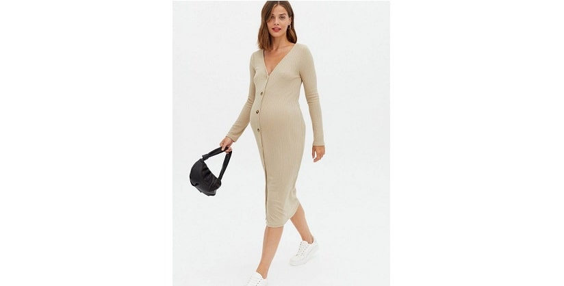 Maternity cream ribbed button up midi dress