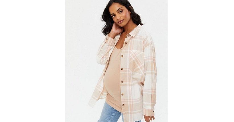 Maternity pink check shirt