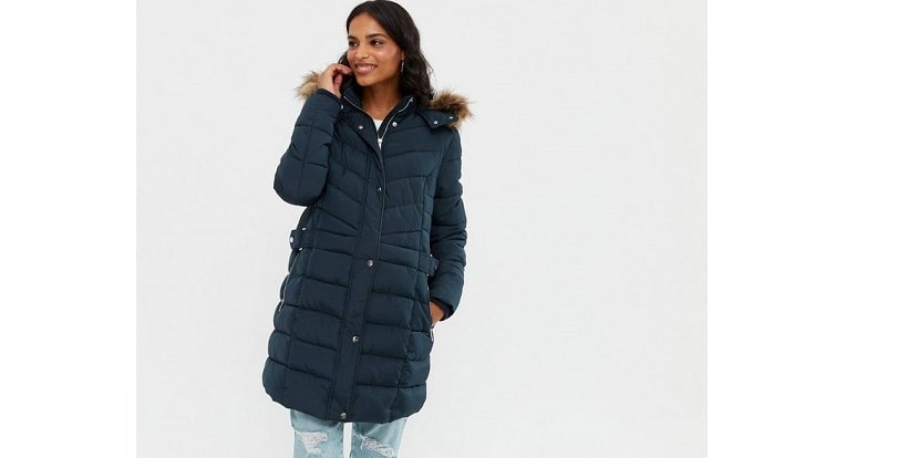 Maternity navy belted long hooded puffer jacket