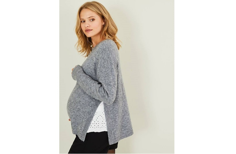 Maternity jumper with side slits