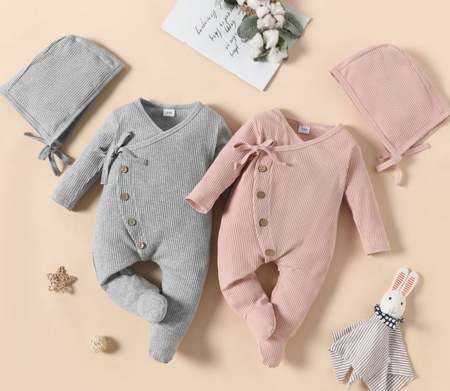 Baby cotton ribbed solid long-sleeve footed jumpsuit set