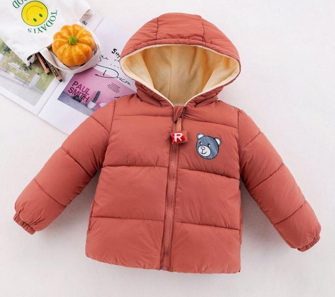 Bear Print Zipper Hooded Fuzzy Coat