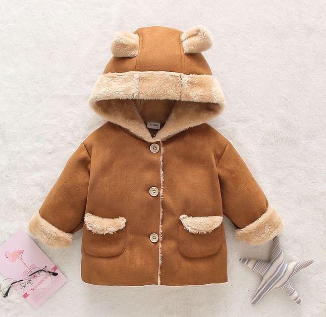 Suede and fleece long-sleeve baby hooded coat jacket