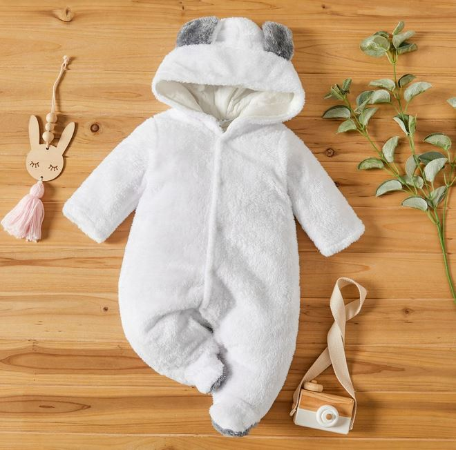 Hooded 3D Bear design long sleeve jumpsuit