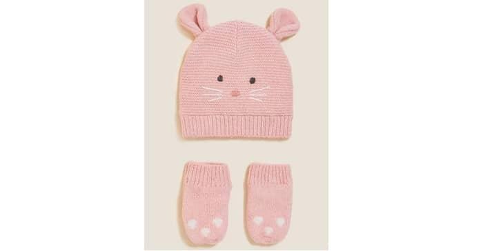 Animal hat and mitten set