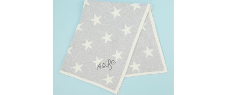 Personalised grey star knit blanket