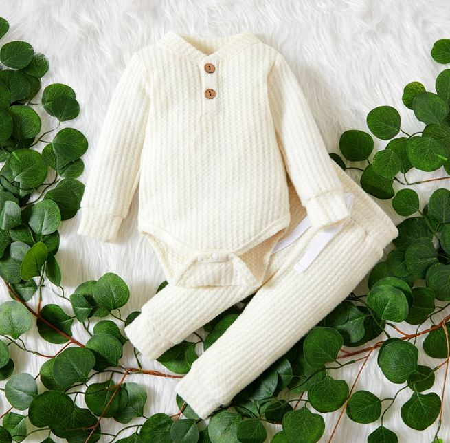 Solid Waffle Long-sleeved baby set