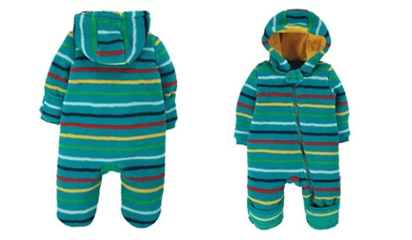 Fleece Hooded Striped Pram suit