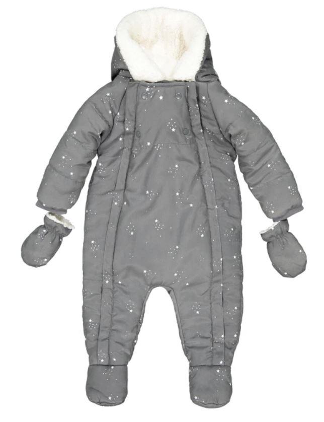 Star Print Hooded Snowsuit