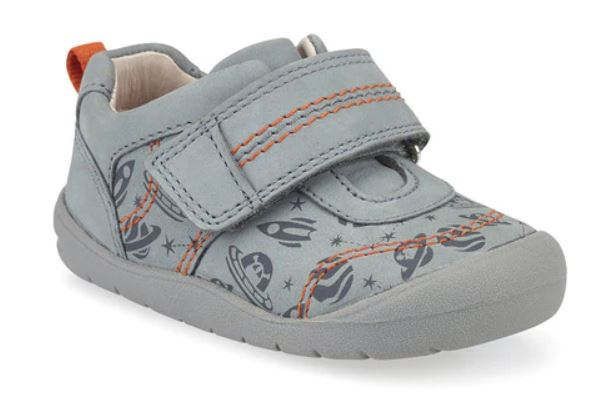 Grey Space Print Nubuck Riptape First Walking Shoes