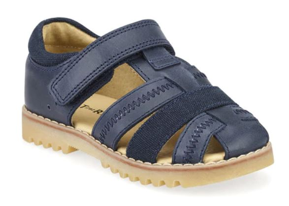 Navy Blue Leather Closed Toe Sandals