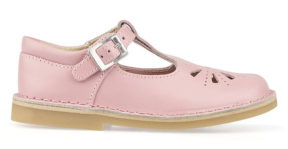 Pink Leather Girls T-bar Buckle Pre-School Shoes
