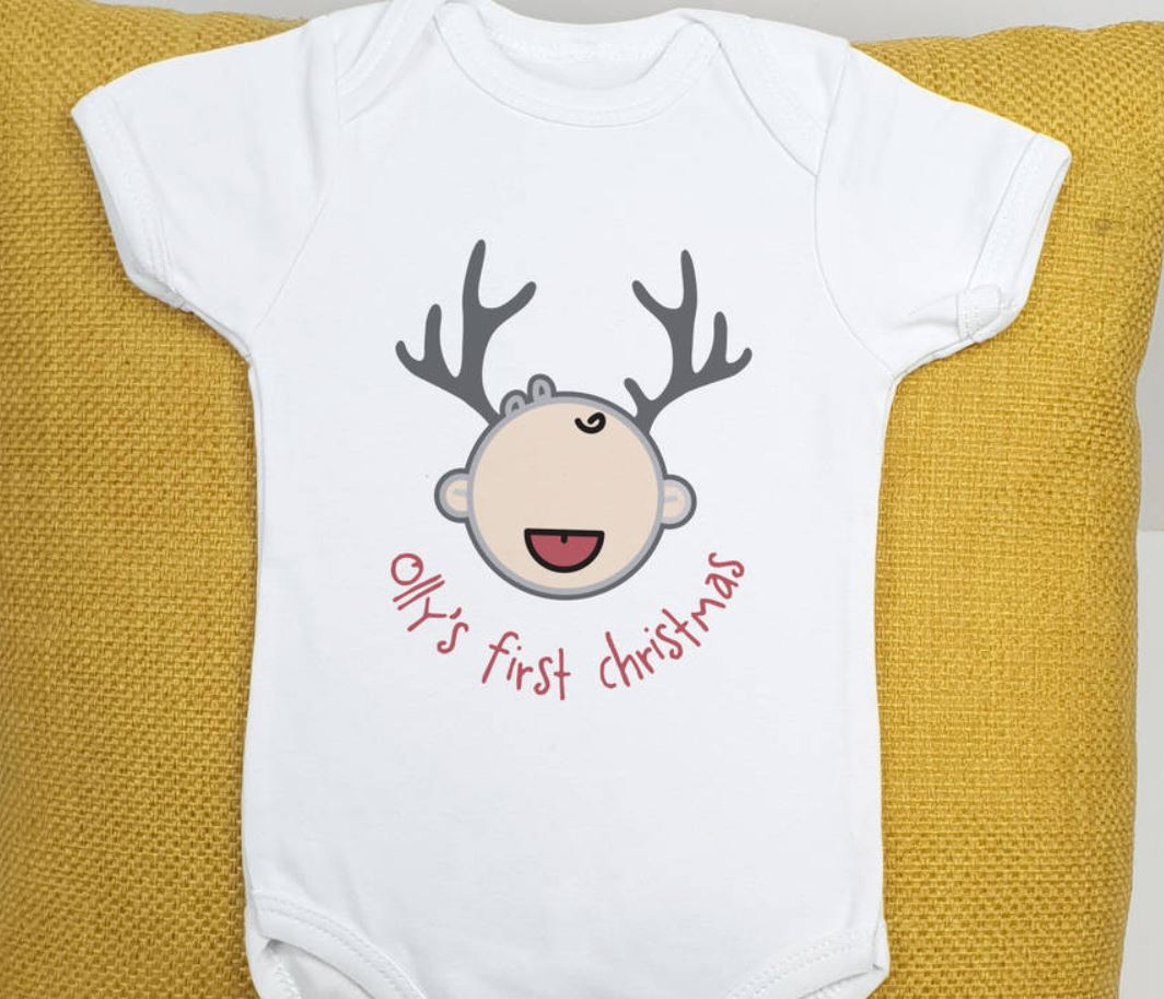 Baby 1st Christmas Reindeer Babygrow