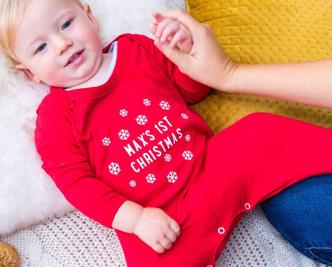 Personalised Snowflake First Christmas Sleepsuit
