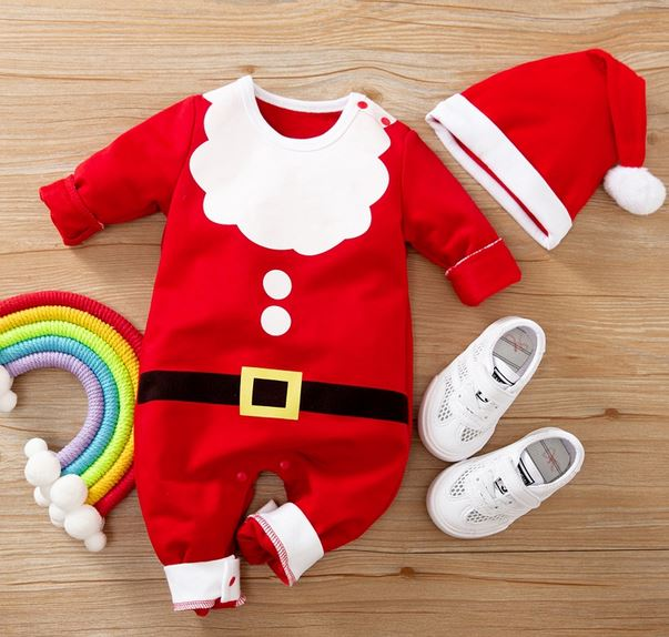 Baby Santa Christmas Jumpsuit with Hat