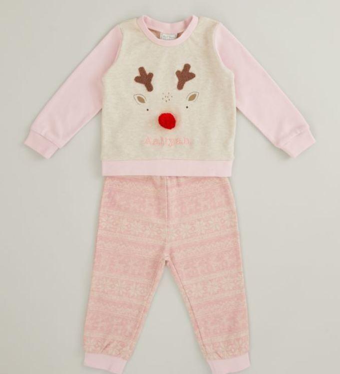 Pink Reindeer Christmas Pyjama Set