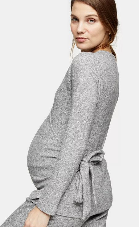 Topshop Maternity Grey Loungewear Wrap Top