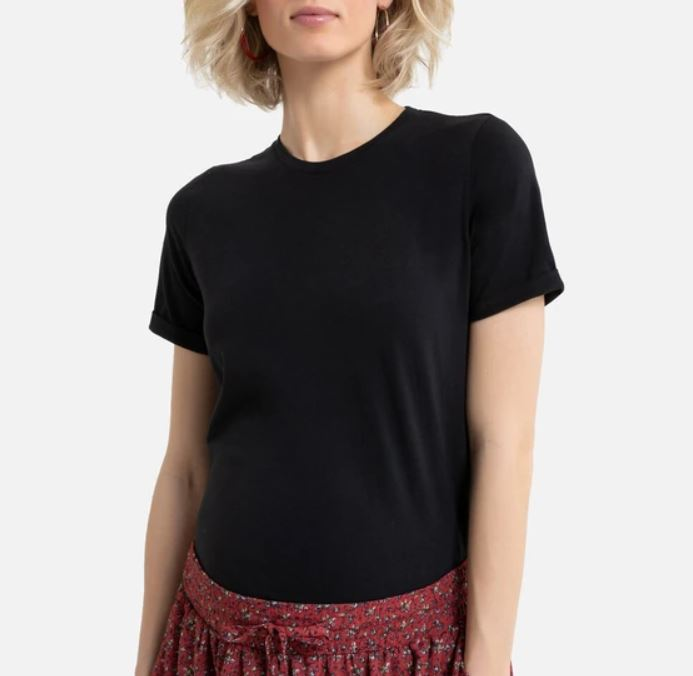 LaRedoute Organic Cotton Maternity T-Shirt with Crew-Neck and Short Sleeves