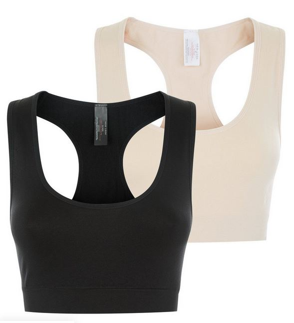 Maternity 2 Pack Black and Stone Bralettes