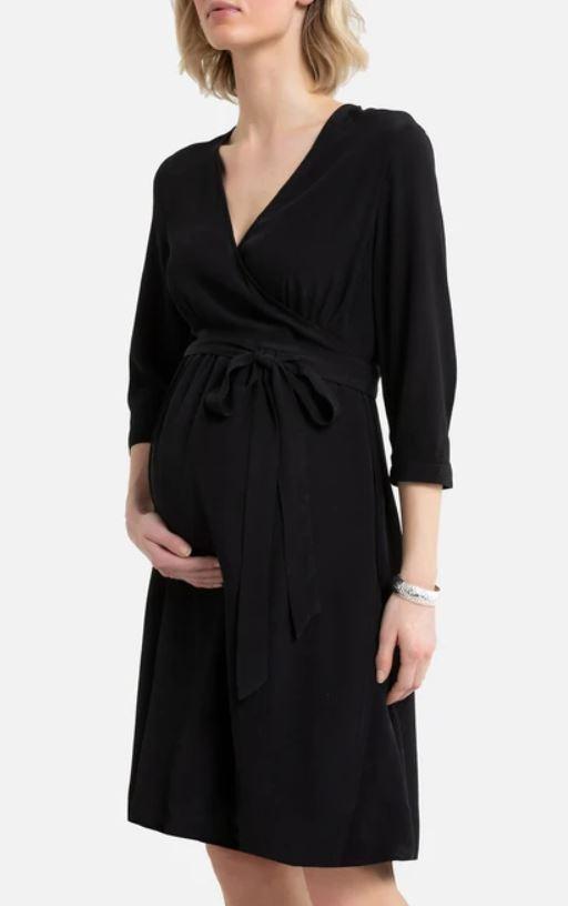 Maternity Black Wrapover Dress