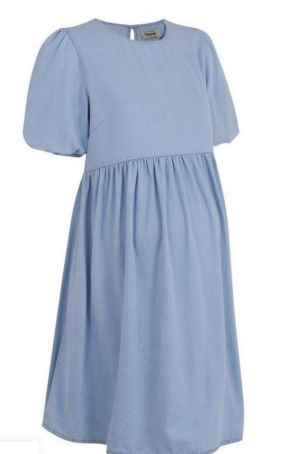 Maternity Blue Denim Smock Dress