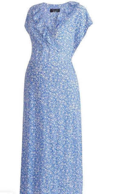 Maternity Blue Floral Midi Dress