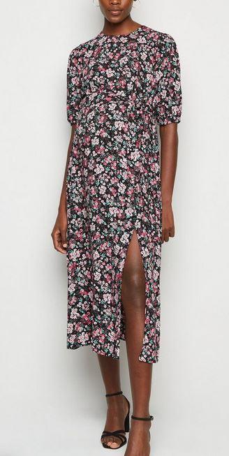 Maternity Black Floral Midi Dress