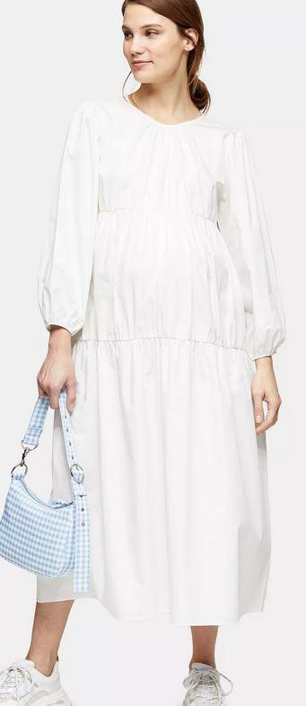 Ivory Tiered Poplin Smock Dress