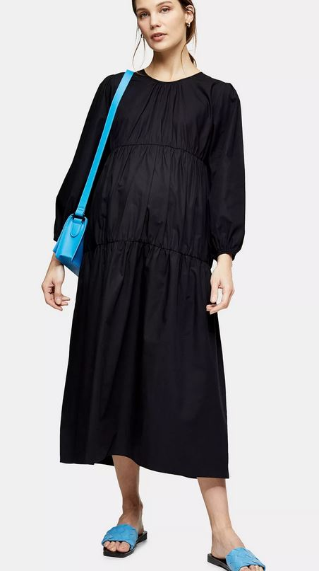 Maternity Black Tiered Poplin Smock Dress
