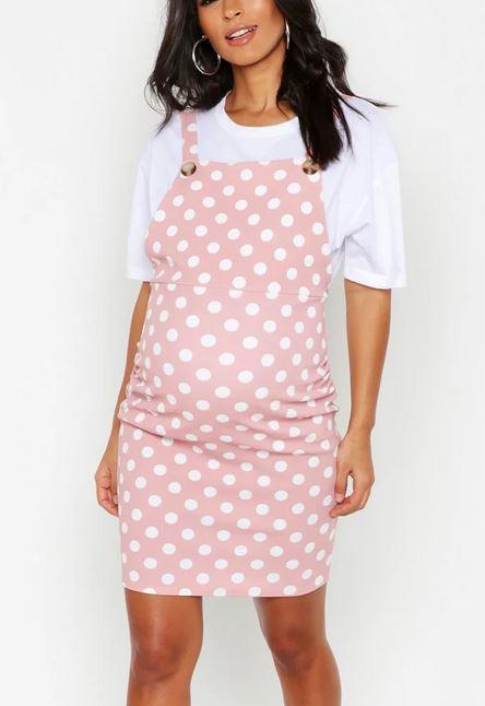 Maternity Polka Dot Pinafore Dress