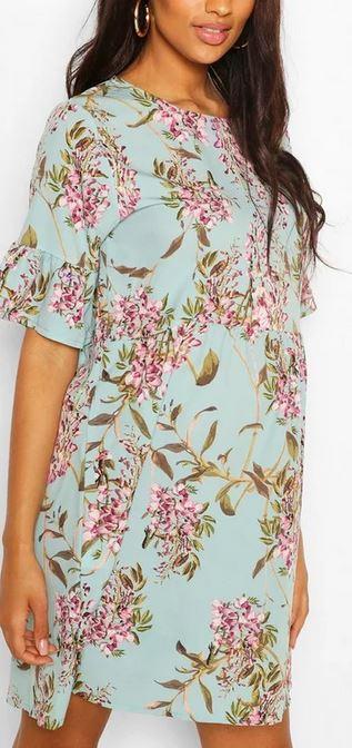 Maternity Satin Floral Print Smock Dress