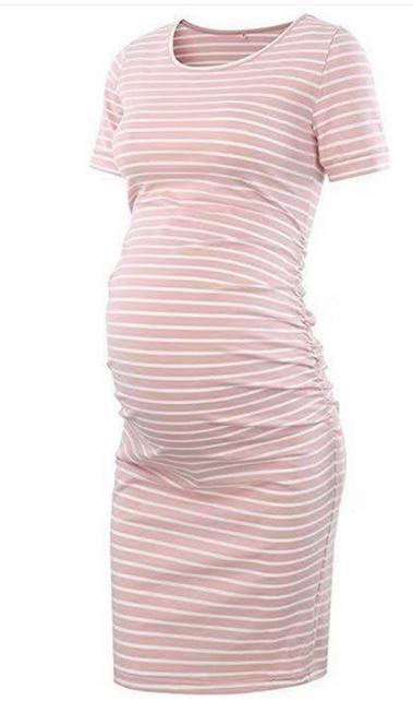 Casual Striped Short-sleeve Maternity Dress