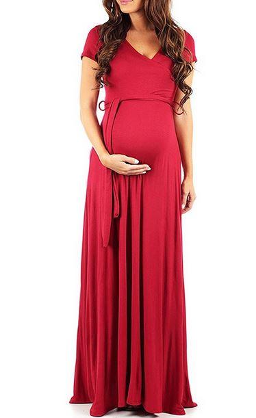 V Neck Short-sleeve Maternity Maxi Dress