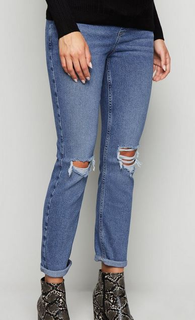 Blue ripped maternity jeans