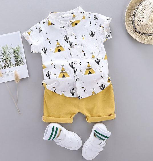 Cactus Print Shirt and Shorts Set