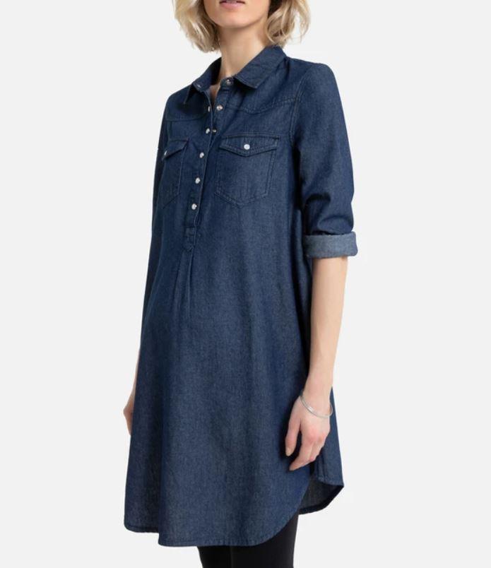 Maternity Denim Shirt Dress