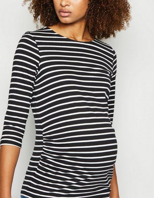 Maternity Black Stripe 3/4 Sleeve Top
