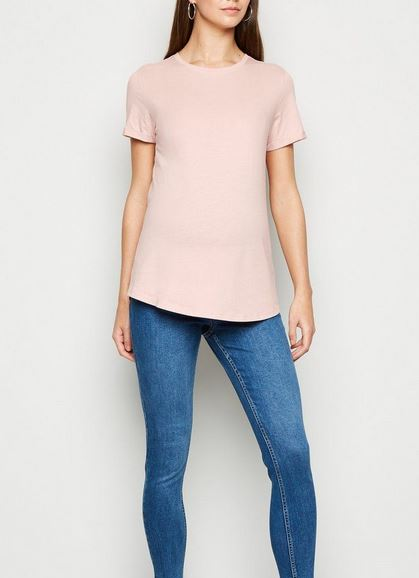 Maternity Pink Roll Sleeve T-Shirt