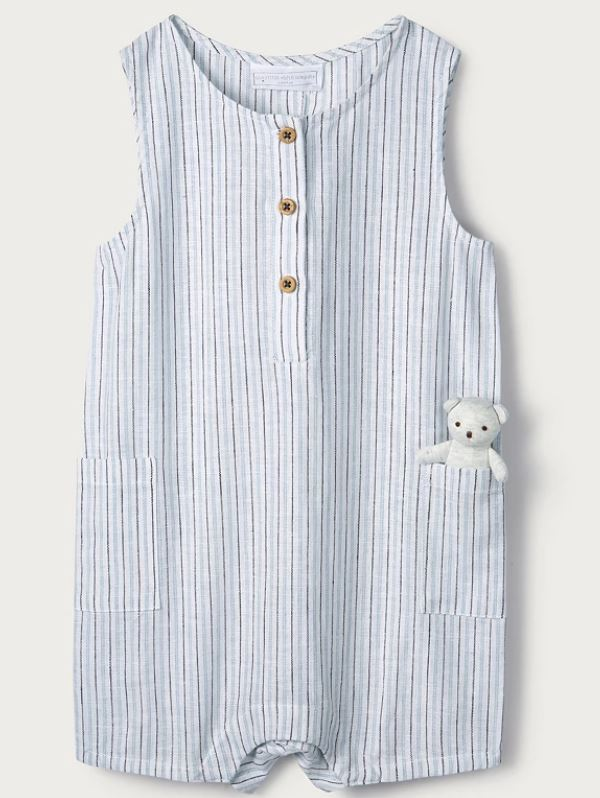 Linen-Cotton Stripe Romper with Toy