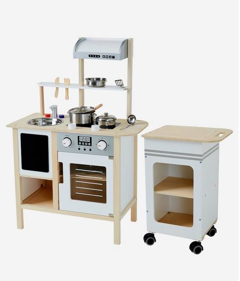 Large Wooden Kitchen and Kitchen Trolley